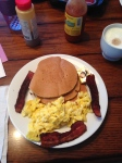 The perfect Mother's Day Breakfast: pumpkin pancakes, scrambled eggs and bacon